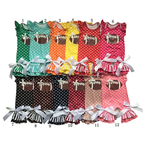 Wholesale New Arrival vinyl heated Football Newborn Polka Dots&strips baby Rompers flutter sleeve girls romper with football printed ball and tie bows on ankles with flutter sleeve - Here Comes A Baby