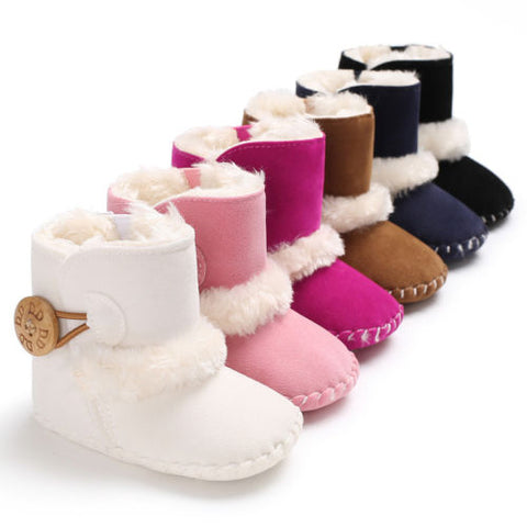 Cute Kids Baby Girl Boys Snow Boots Non-slip Winter Warm Fur Crochet Boots Booties Newborn Infantil Soft Sole Mocassins Shoes faux ugg bootie boots - Here Comes A Baby