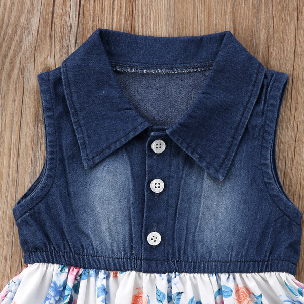 Kids Baby Girls Summer Floral Tutu Mini Dress Vestidos Toddler Baby Girl Sleeveless Princess Denim Flower Party Dresses Clothing - Here Comes A Baby