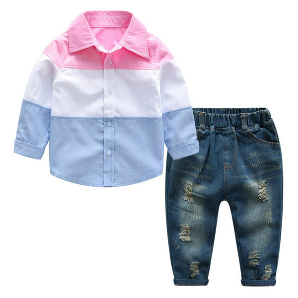 Children Clothing 2018 Autumn Winter Boys Clothes T-shirt+Pant 2pcs Outfit Kids Clothes Boys Suit For Toddler Boys Clothing Sets navy jean blue light blue white with tattered jean with holes rustic worn look - Here Comes A Baby