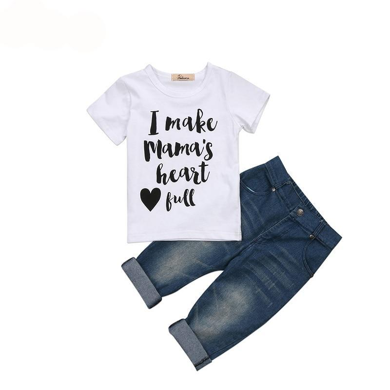 Infant Summer set baby boys clothing set children T shirt denim Pant clothes boys girls sets 2017 autumn new arrival Outfits - Here Comes A Baby