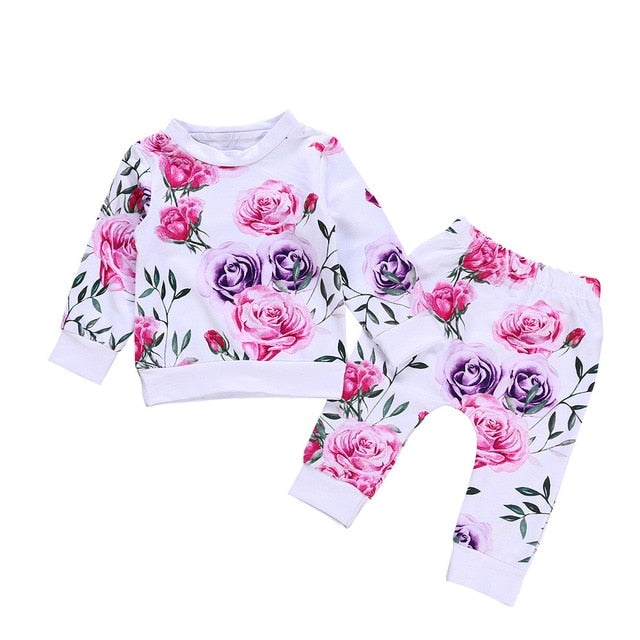 Newborn Infant Baby Girl Clothes Floral T shirt Tops+Pants 2PCS Outfits Setcotton Baby Rompers Jumpsuit Kids Baby pink purple white adorable cheap clothing fashion - Here Comes A Baby