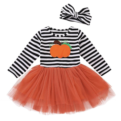Children's long sleeve Halloween pumpkin print stripe dress + Hair Strap Two Set Baby girl clothes 2018 brown and white striped top with orange tulle tutu skirt and matching headband bow - Here Comes A Baby