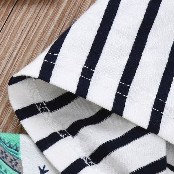 neautral white black and teal blue two piece hooded sweat outfit. striped pants with teepee and cactus print hoodie with striped hood and lined pattern - Here Comes A Baby