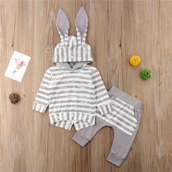 Lovely Spring Autumn Newborn Baby Girls Clothes Ear Hooded Sweatshirts+Stripe Pants Leggings Baby Boy Tracksuit Suit Outfit Set - Here Comes A Baby