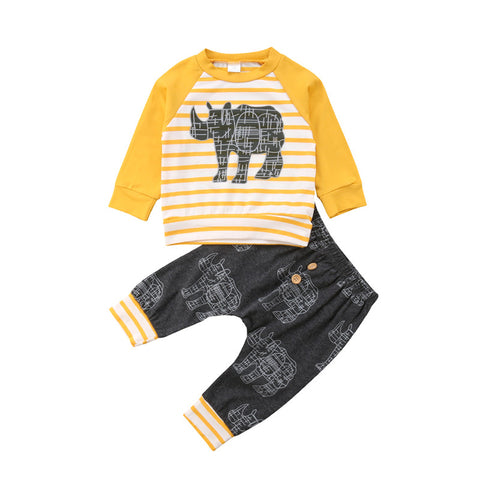 Clothes Cartoon Infant T-shirt+Pants Cotton Two-Piece Long Sleeve Outfit Suit Baby Boy Infant Clothing yellow striped with gray pant rhino emblum - Here Comes A Baby