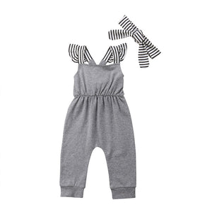 Casual Style Summer Newborn Infant Baby Girls Unisex Sleeveless Romper Jumpsuit Striped Headband Infant Baby Clothes Outfit Set gray black white striped - Here Comes A Baby