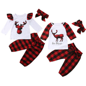 Christmas Clothes Set Newborn Baby Boy Girl Deer Plaid Long Sleeve Tops T shirt Bow Pants Headband 3Pcs Outfit Clothes - Here Comes A Baby
