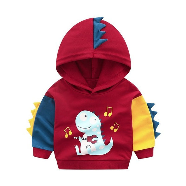 Toddler Boys Hoodies Sweatshirt Kids Clothes Autumn 2018 Children Hooded Sweat Shirt Boy Long Sleeve Top hooded with dino spikes - Here Comes A Baby