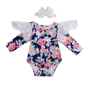 2Pcs Newborn Baby Girls Flower Lace Long Sleeve Bodysuit Cotton Lace Autumn Jumpsuit Playsuit Tracksuit Clothes Headband - Here Comes A Baby