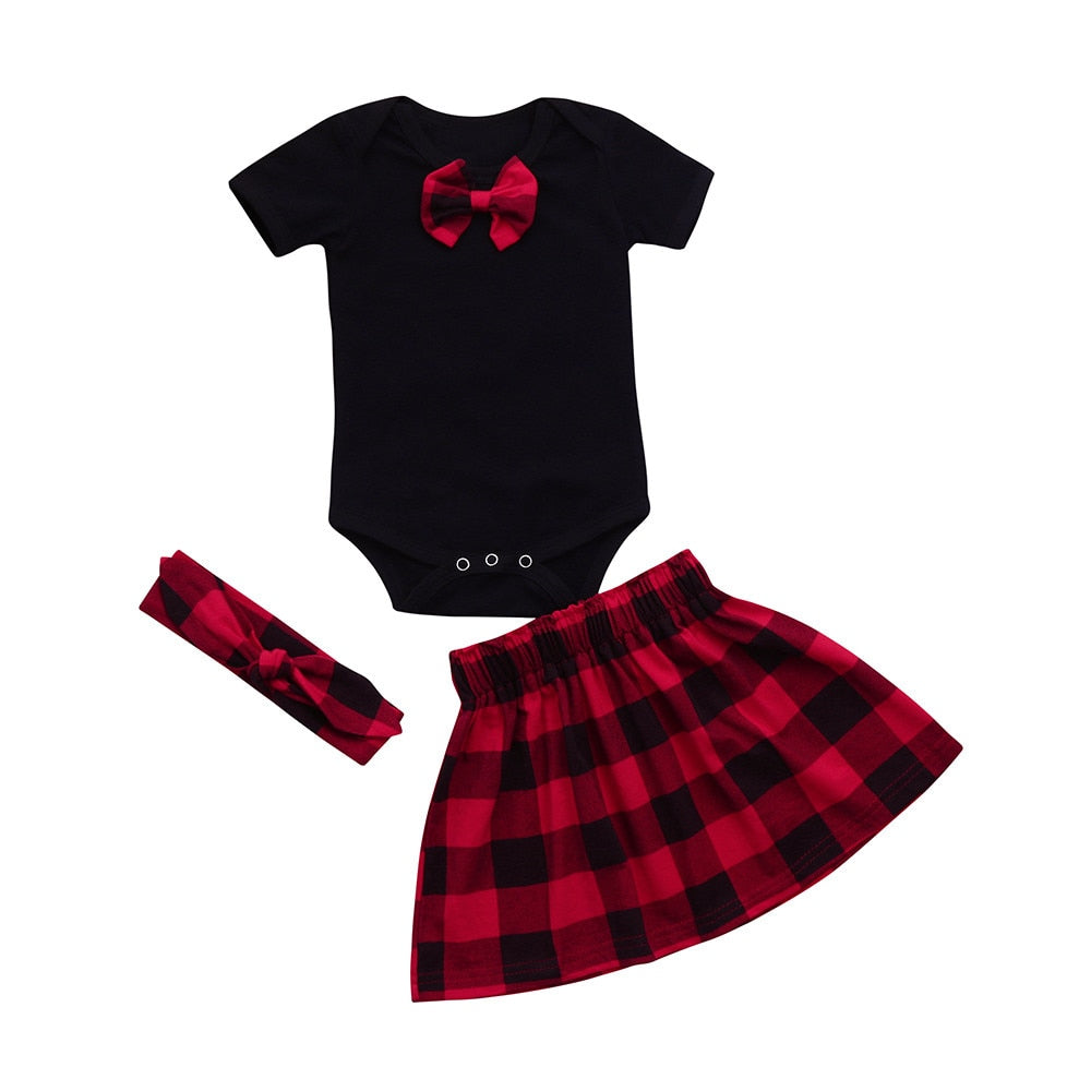 newborn baby girl clothes Romper Tops plaid Skirt Headband set red black 3 piece set - Here Comes A Baby