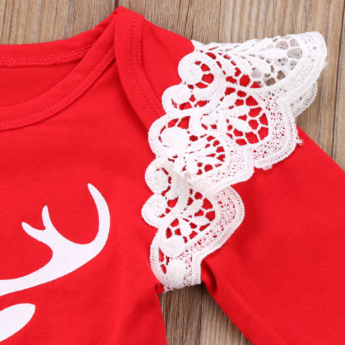 Cute Christmas Newborn Baby Girl Xmas Lace Romper+Headband Tops Jumpsuit Bodysuit Clothes - Here Comes A Baby