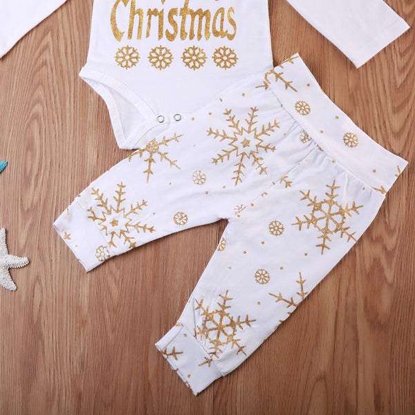Toddler Newborn Baby Boys Girls Christmas 3PCS Set Clothes Letters Printed Tops Long Sleeve Bodysuit Snow Pants Hat Xmas Outfits white and gold - Here Comes A Baby