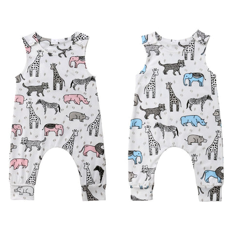 Cute Newborn Baby Girl Boy Animal Romper Jumpsuit Trouser Outfit Clothes Summer 6M-3Y For Leisure Children Clothes tank top cutoff sleeve long pant onesie one piece - Here Comes A Baby