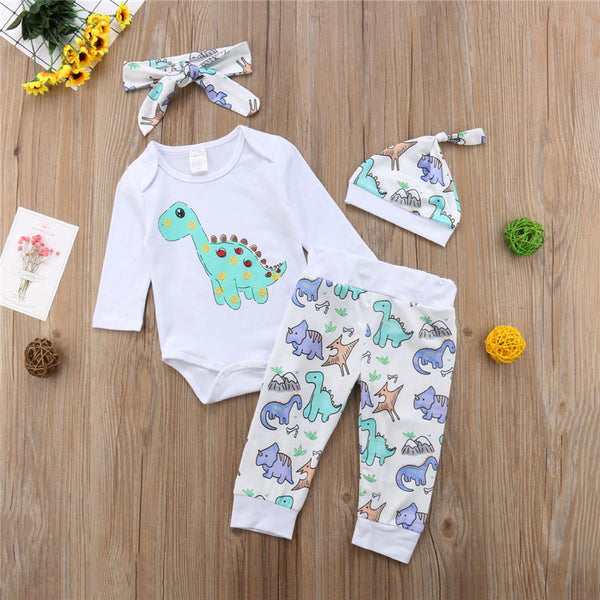 Fashion 4pcs Newborn Girl Boy Rompers Lovely Animal Dinosaur Comfort Outfits Clothes for Unisex Children Gift Drop Ship neutral unisex dino onesie 3 piece set - Here Comes A Baby