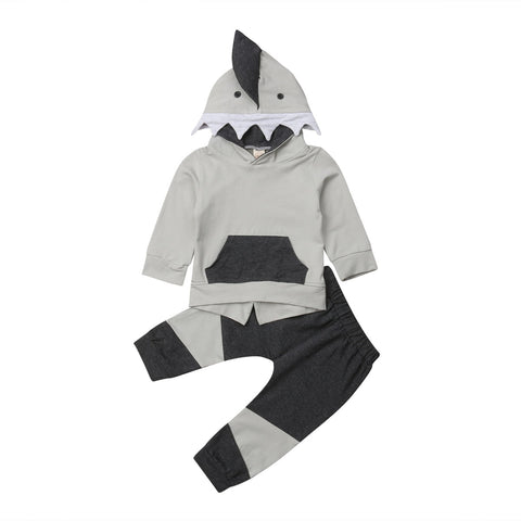 2019 Newest Brand Newborn Kids Baby Boy Lovely Shark Long Sleeve Hooded Tops+Pants Autumn Outfits Set Clothes grey black shark teeth - Here Comes A Baby