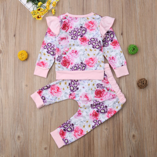 2PCS Newborn Baby Girls Tops Romper Floral Outfits Set Clothes Outfits Suit 1-4Y - Here Comes A Baby