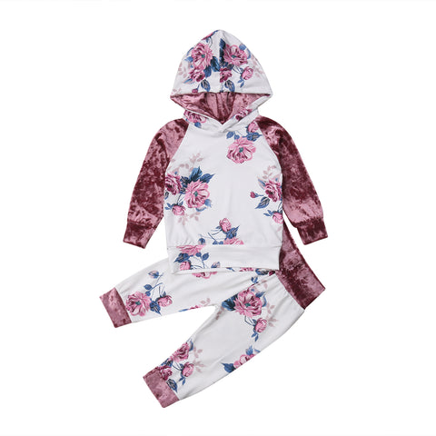 Toddler Kids Baby Girls Clothes Hoodie T-shirt Top Pants Outfit Set Tracksuit 1-6Y flower floral sweat suit with velvet velour sleeve and hood - Here Comes A Baby