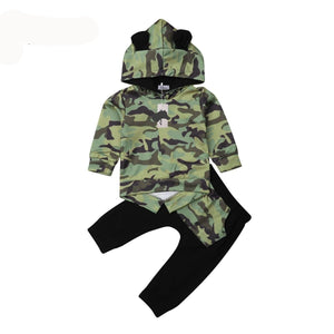 Fashion Camouflage Baby boy Clothes set Hoodie Sweater Tops Long Pants for Baby Boy Children Clothes Kid Toddler Infant Clothing army green black - Here Comes A Baby