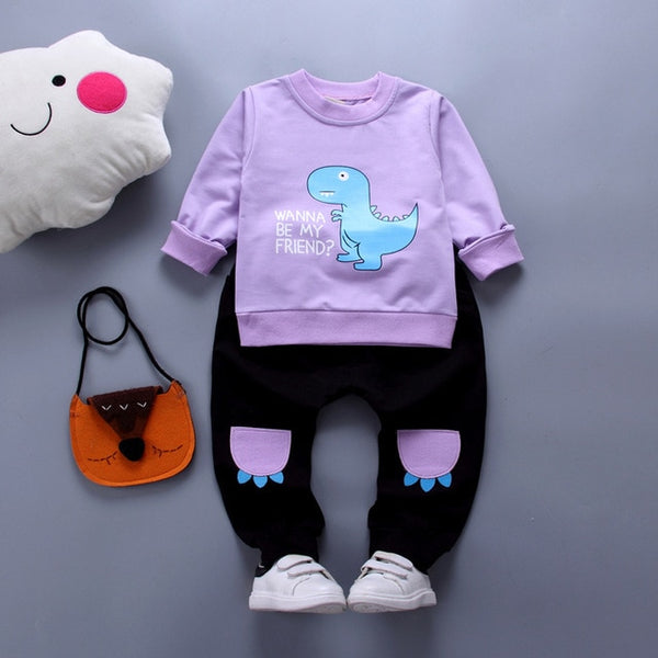 2pcs Spring Fashion Boys Girls Clothing Sports Outfits Cotton Casual Pullovers Long Sleeve Cartoon Printing Tops Pant Set - Here Comes A Baby