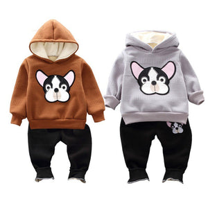 winter Baby Clothes for Boy girl Cartoon Dog Print Outfits Set Toddler Warm Hoodie Sweatshirt Trousers Pants Clothes - Here Comes A Baby