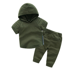Baby Boy Clothes Set Cotton Short Sleeve Summer Baby Clothing Suit (Hooded T-Shirt+Pants) Kids Clothes SetA olive green moto - Here Comes A Baby
