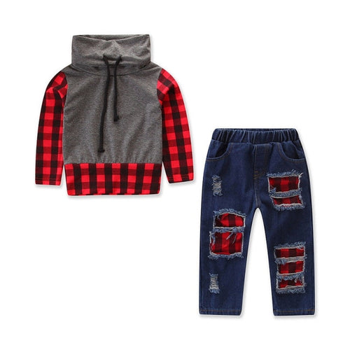 Pudcoco Toddler Kids Baby Boy Fashion 2PCS Plaid Tops Shirt Denim Jeans Pants Leggings Outfit Clothes - Here Comes A Baby