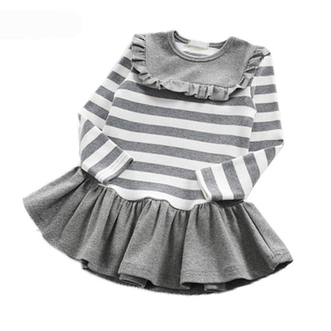 Kids dresses for girls 2018 autumn children's striped round neck fungus neckline dresses kids ball gown preppy style dress - Here Comes A Baby