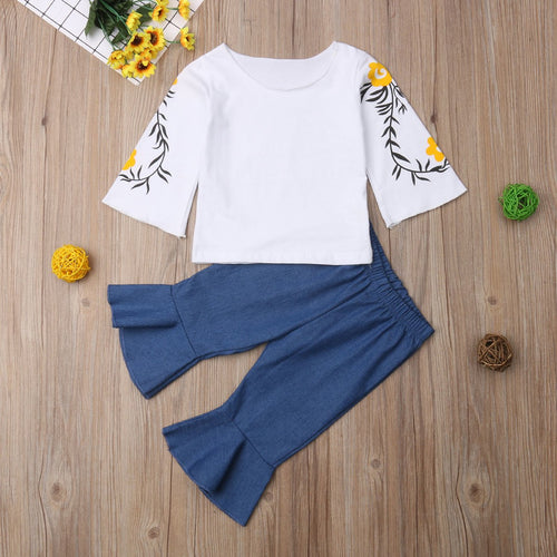 Toddlers Infant Kid Baby Girls Long Sleeve T-shirt+Jeans Pants Clothes Outfit 0-5Y denim pant floral sleeve - Here Comes A Baby
