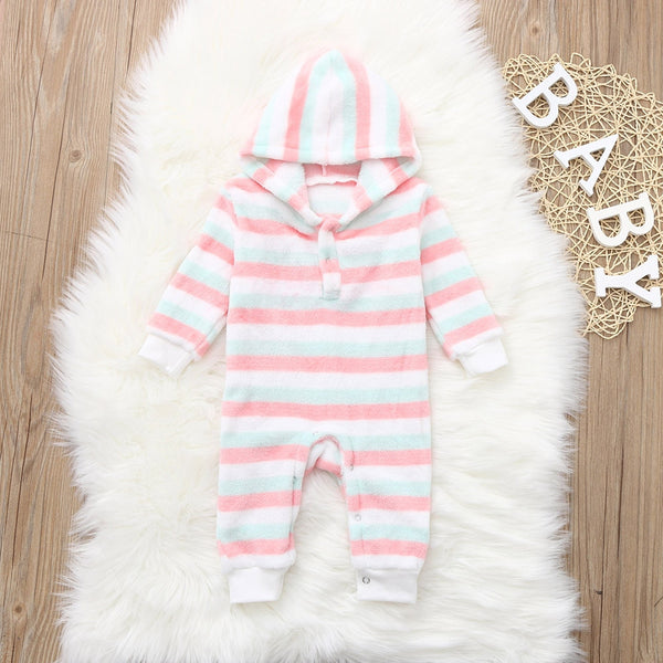 Toddler Newborn Infant kids Baby Boy Girl Colourful Warm Infant Romper Striped Jumpsuit Hooded Clothes Long Sleeve Outfit - Here Comes A Baby