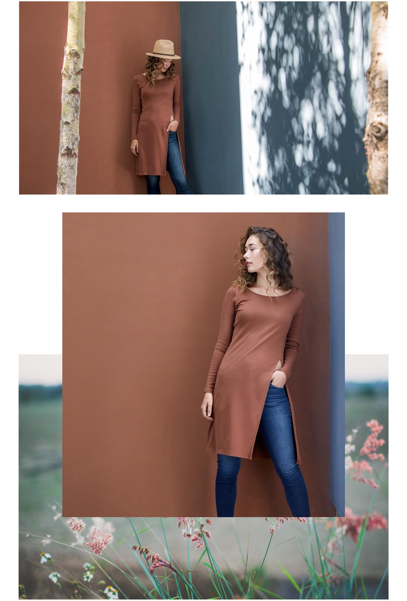 Womens Side Slit Tunic in Cognac Brown   Organic Cotton Clothing