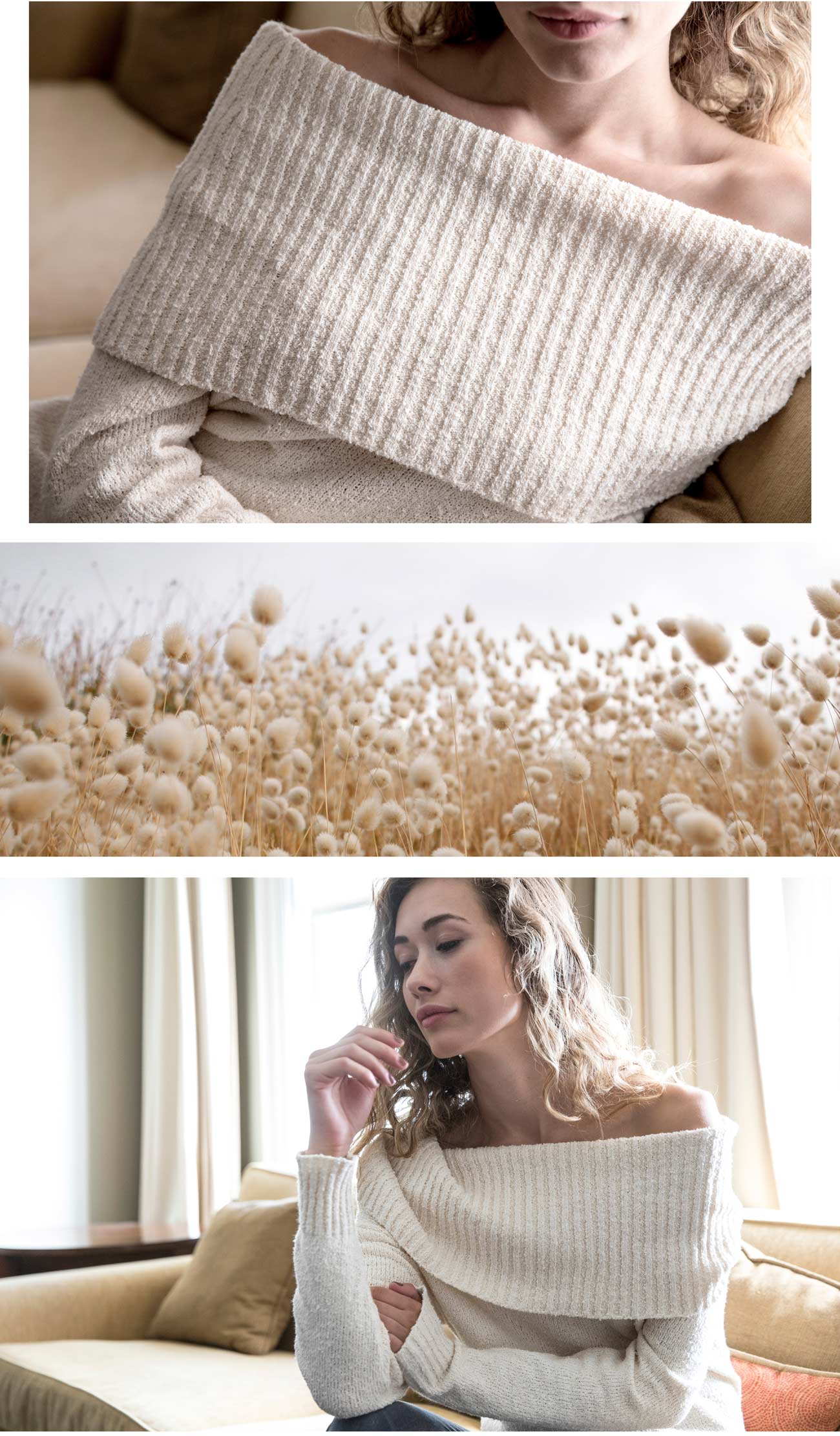 Organic and Undyed Bardot Pullover Sweater