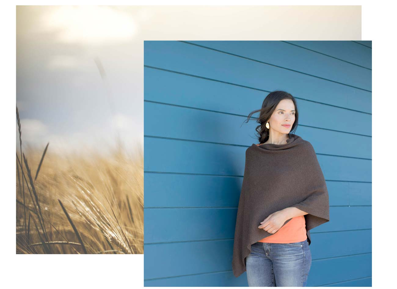 Organic Cotton Knit Poncho in Brown