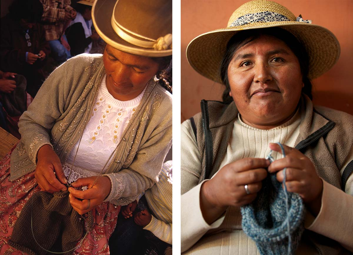 Fair trade artisans who handknit our sustainable fashion line in Peru