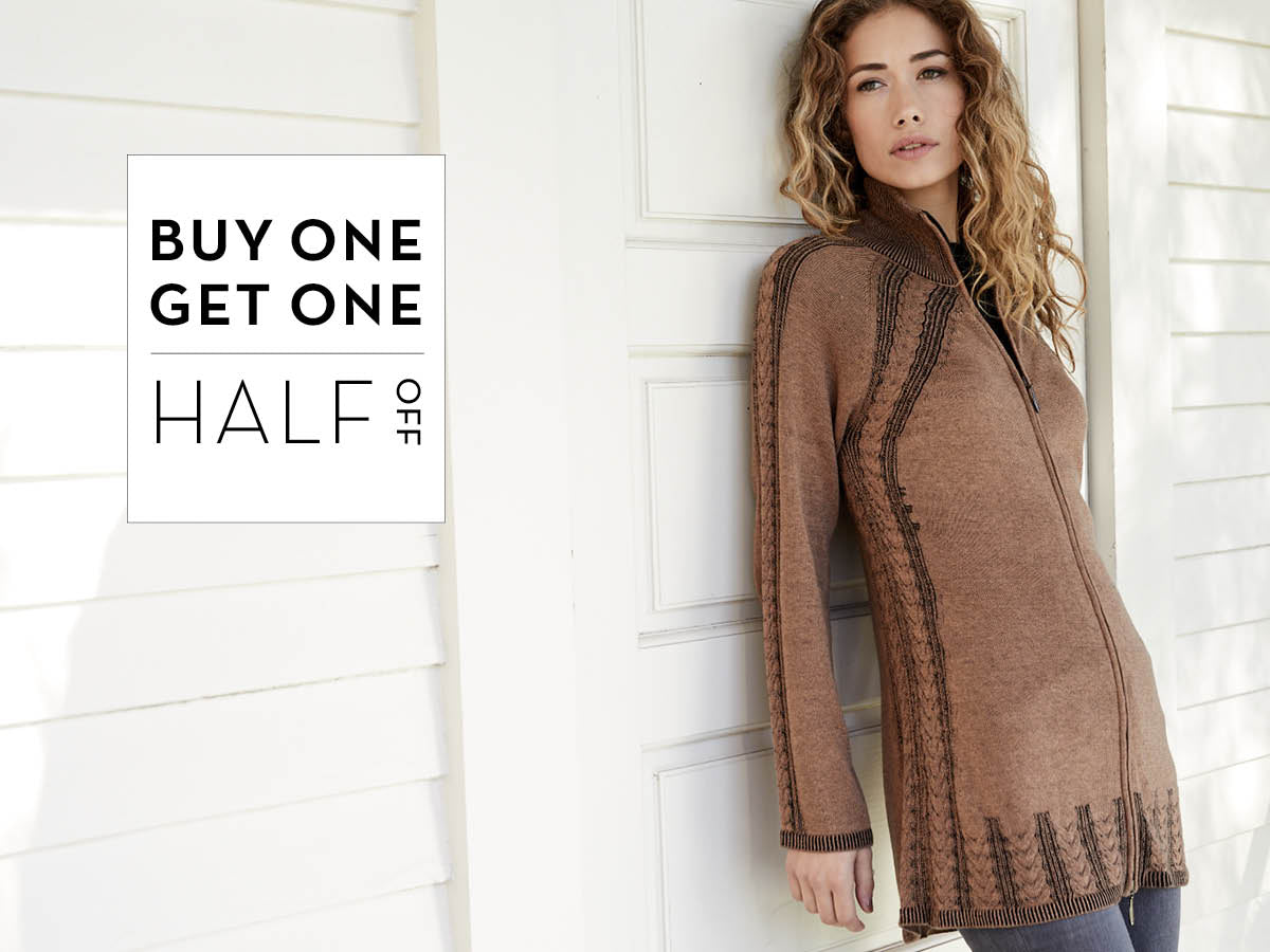 Buy one get one half off - sweaters shirts coats jackets ponchos for men and women
