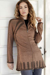 Womens cable zip cardigan - organic cotton sweater
