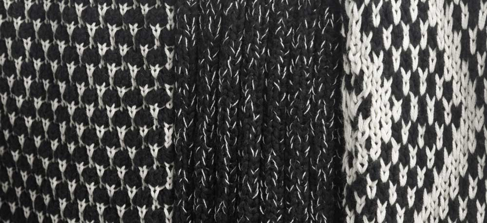 Shaggy Knit Pullover Sweater | Black and White Knit Fabric Swatch