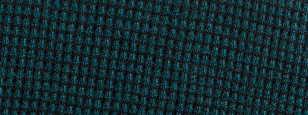 Organic Cotton Fabric Clothing - Waffle Swatch - Jade Black