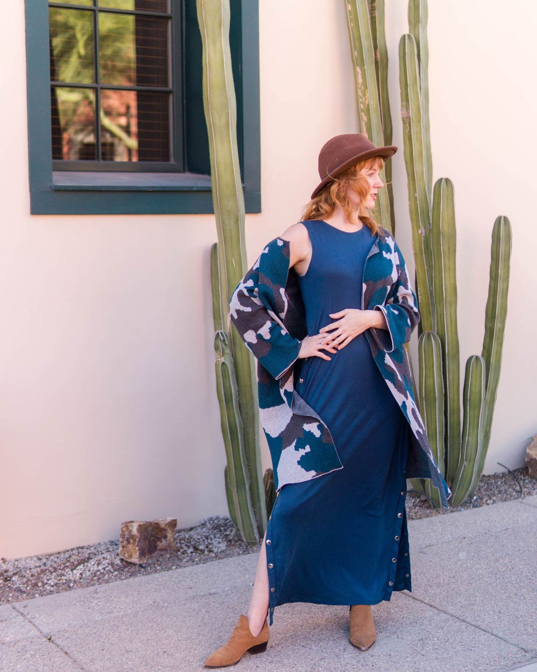 Misty Foster in Organic Cotton Clothing | Snap Maxi Dress | Knit Ink Blot Cardigan