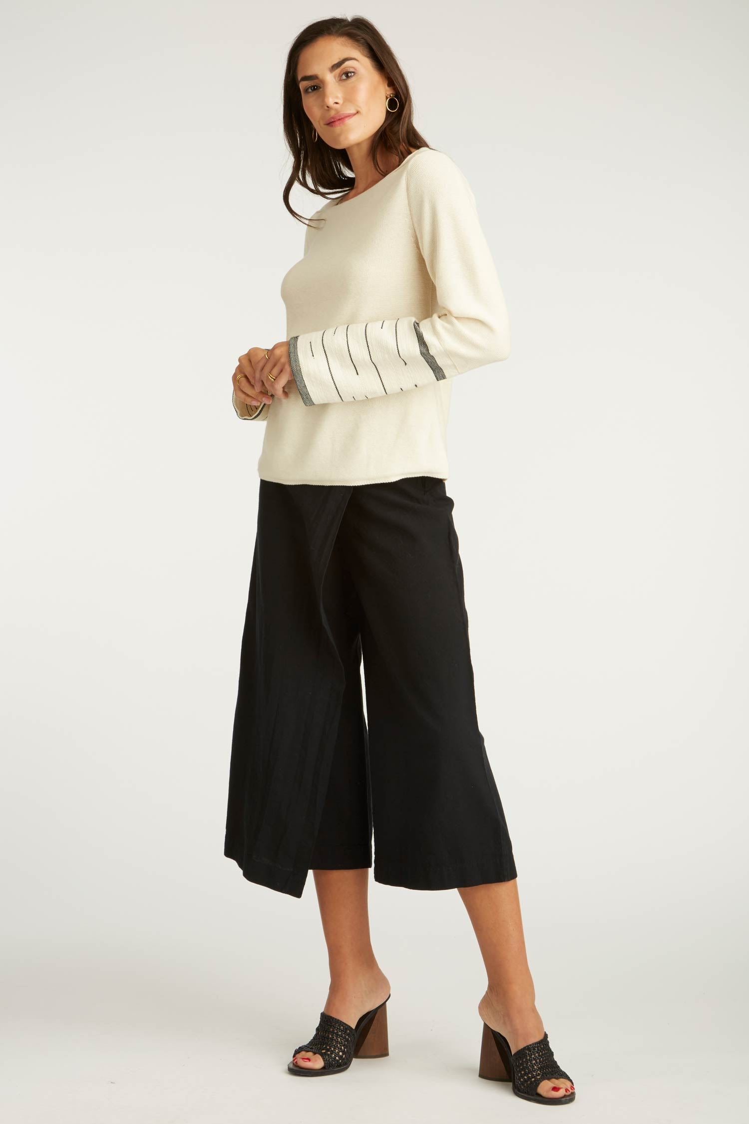 Womens Organic Cotton Clothing | Woven and Knit Sweater | Black Woven Pants