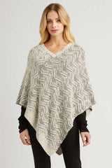 zig zag knit poncho - womens organic cotton poncho
