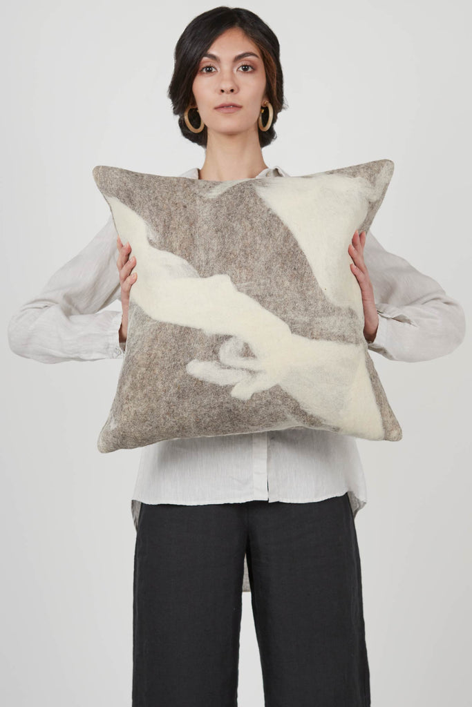 Shetland Wool Cloud Pillow | Square | Ivory Pattern