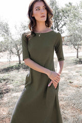 Essential Boatneck Midi Dress With Pockets