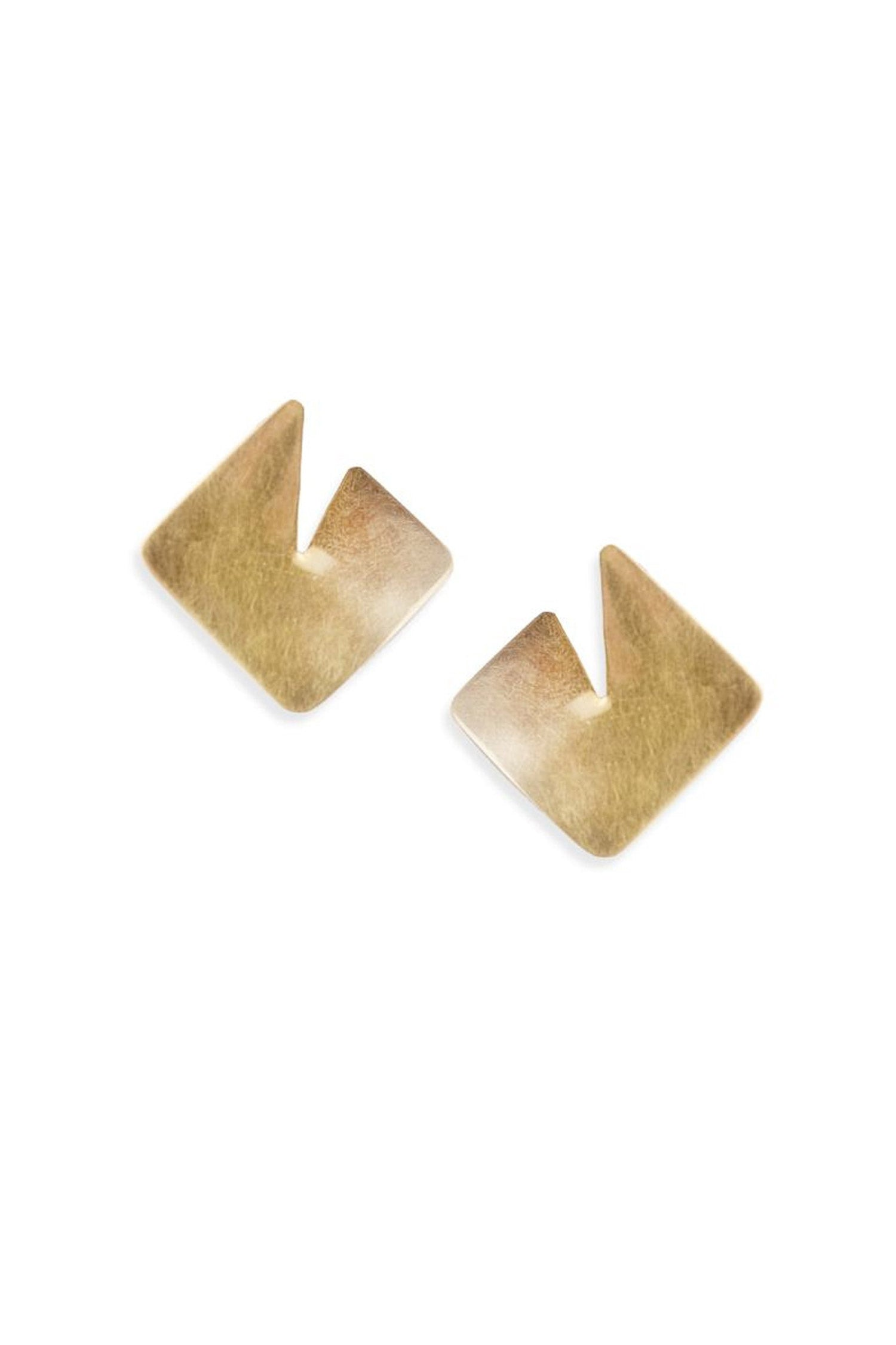 Soko Square Sia Studs - Brass Earrings - Ethical jewelry