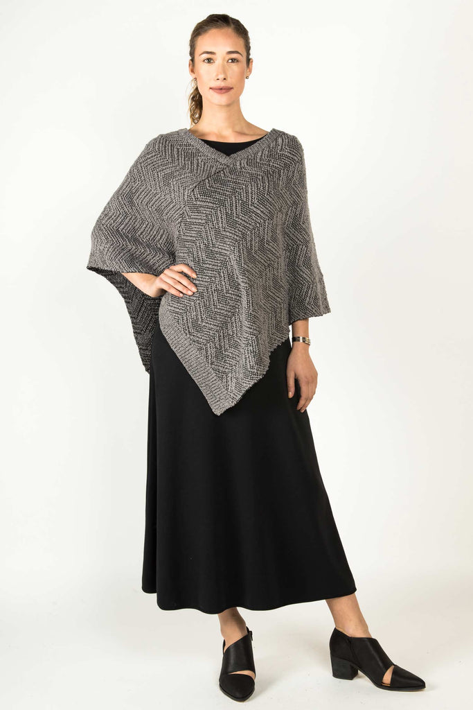 Womens Knit Poncho in Organic Cotton | Gray Black