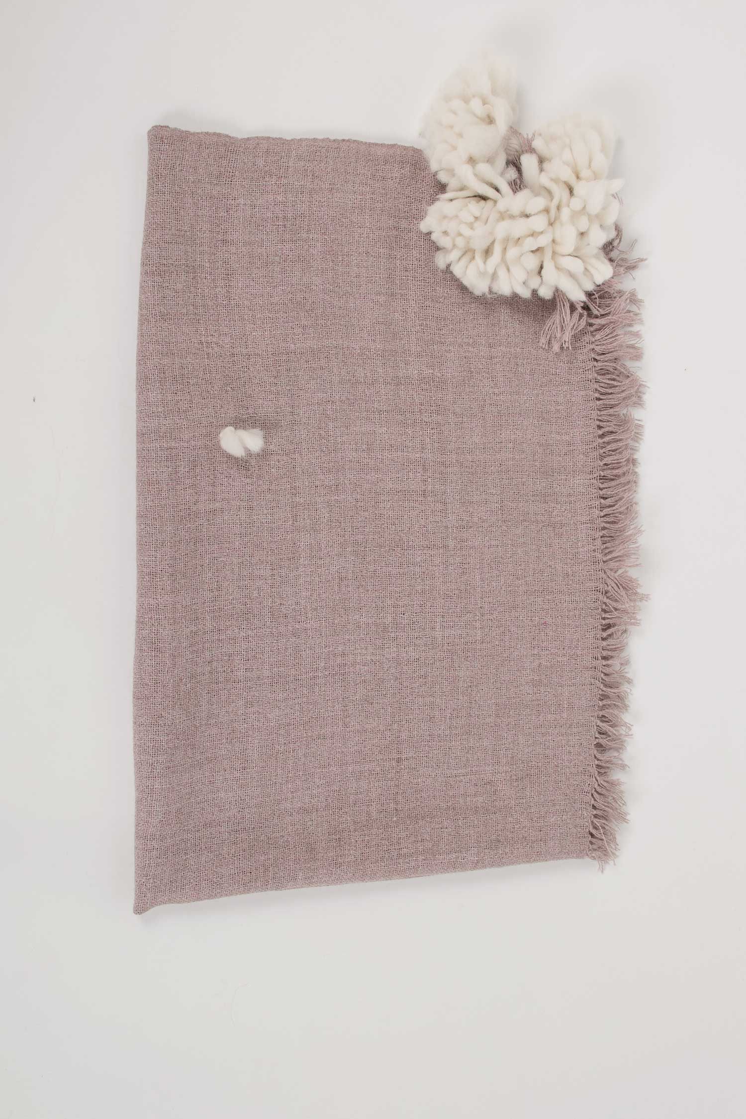 Soft Pink Alpaca Blanket | Sustainable Woven Alpaca Tassel Blanket