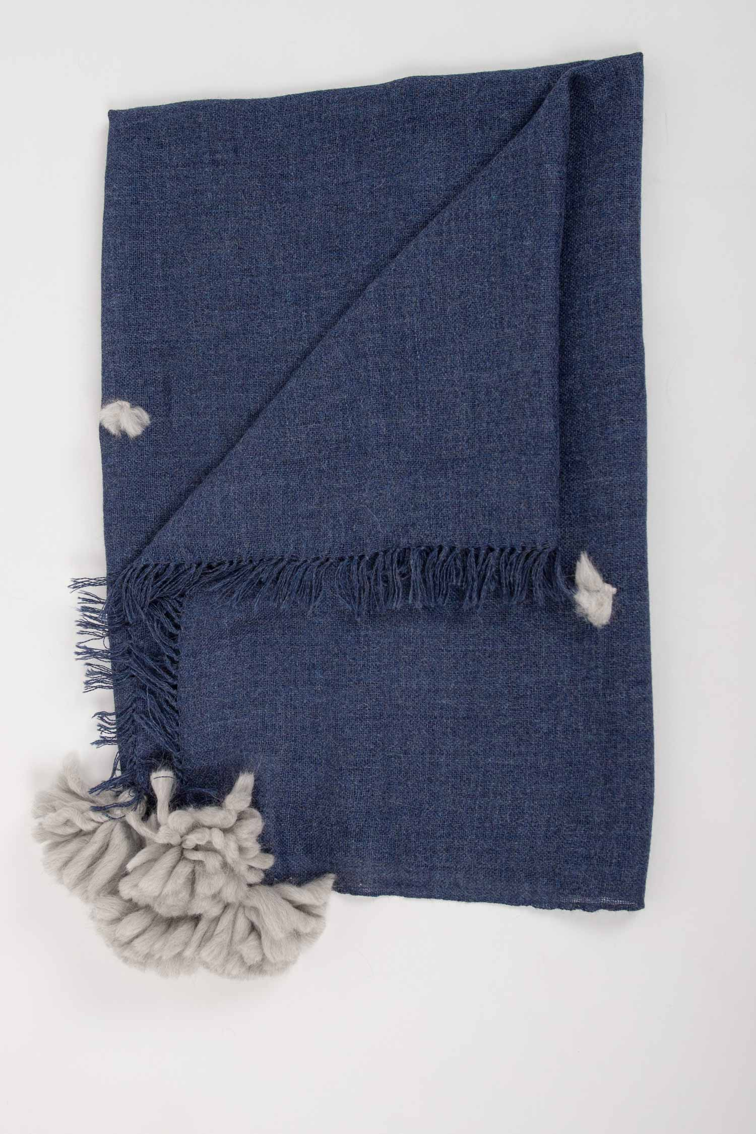 Indigo Blue Alpaca Blanket | Fair Trade Woven Tassel Blanket