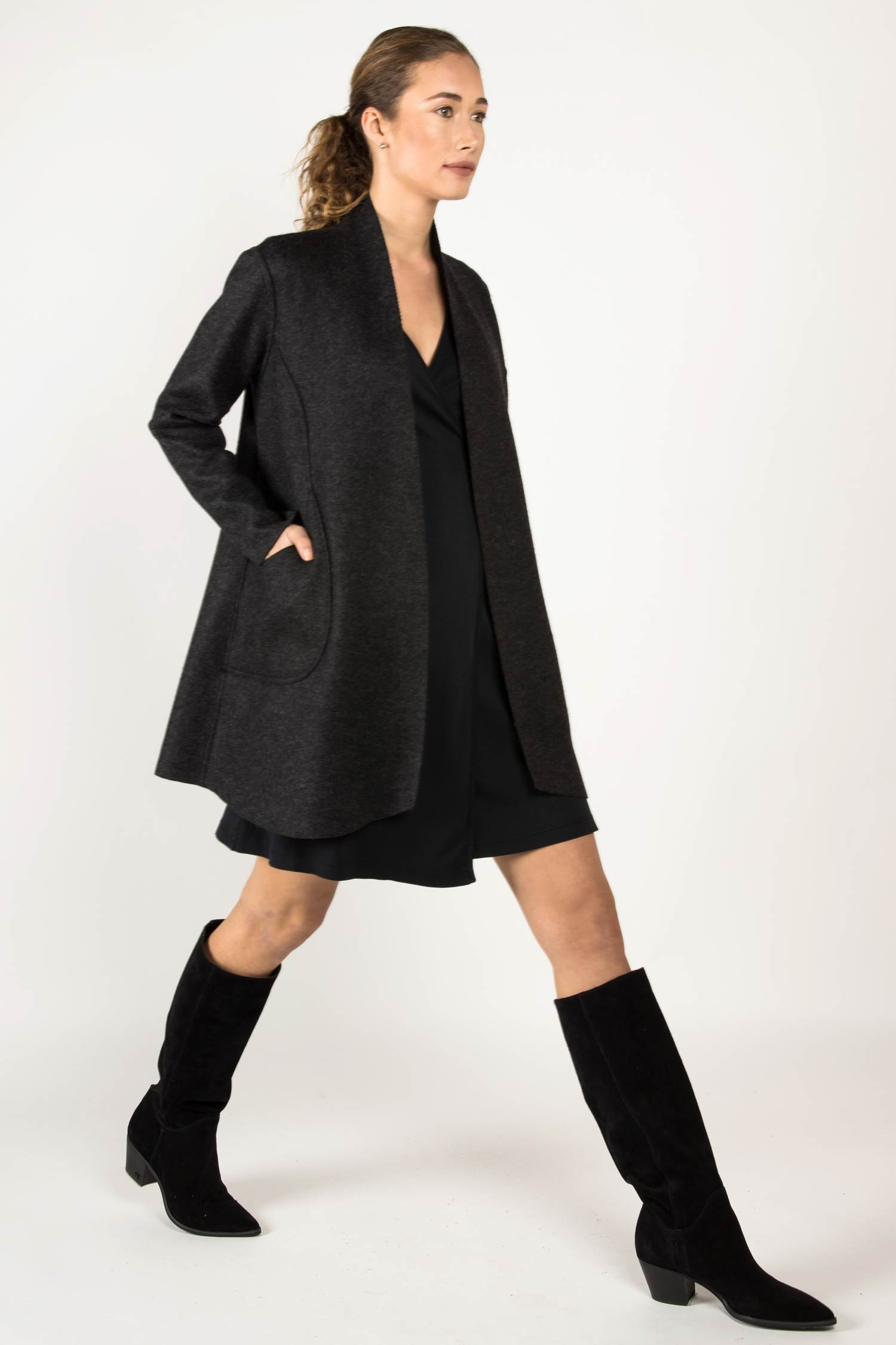 Womens Boiled Wool Alpaca Reversible Coat | Black Gray