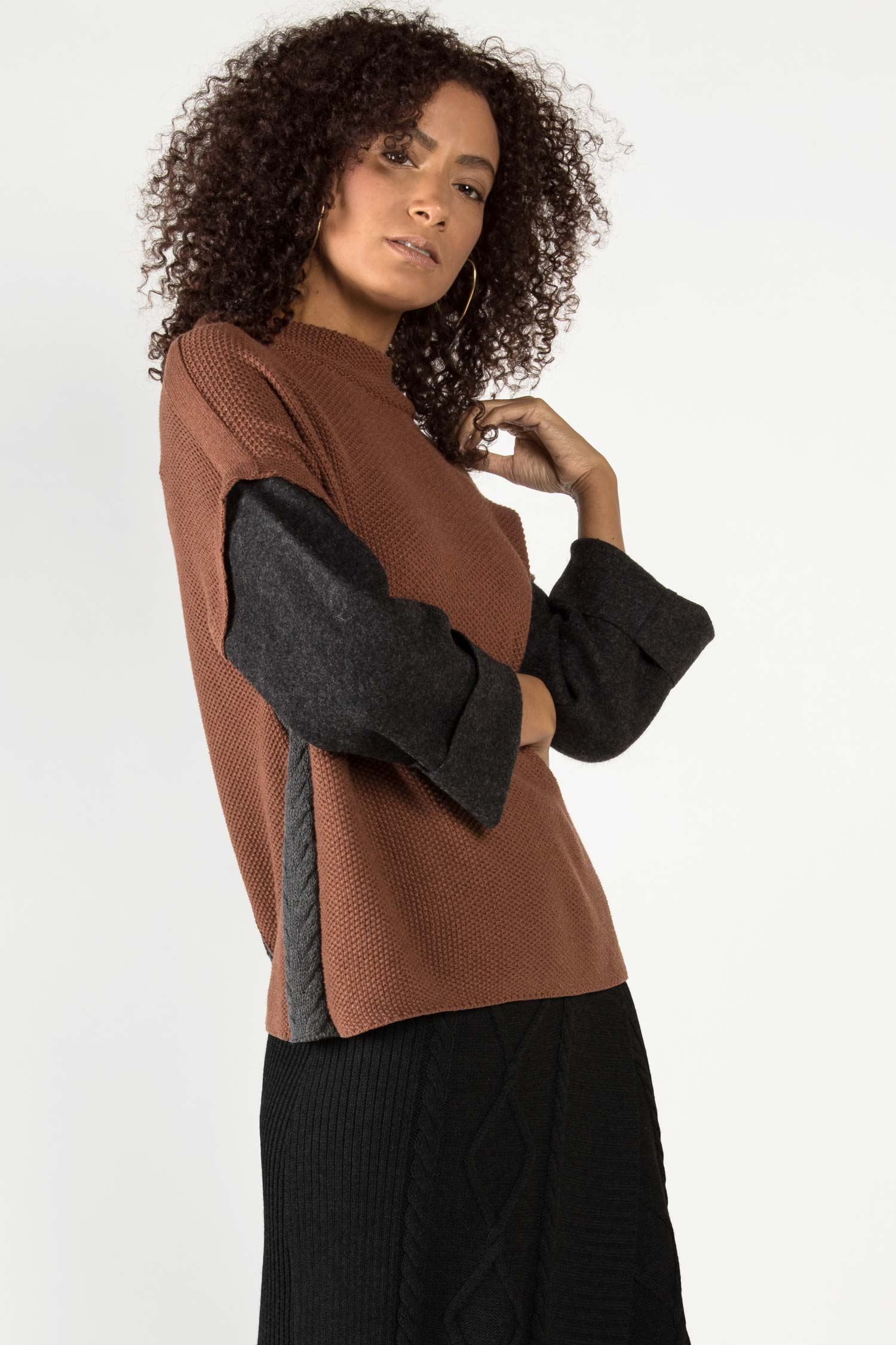 Womens Organic Cotton Sweater | Alpaca Sleeve Sweater | Brown