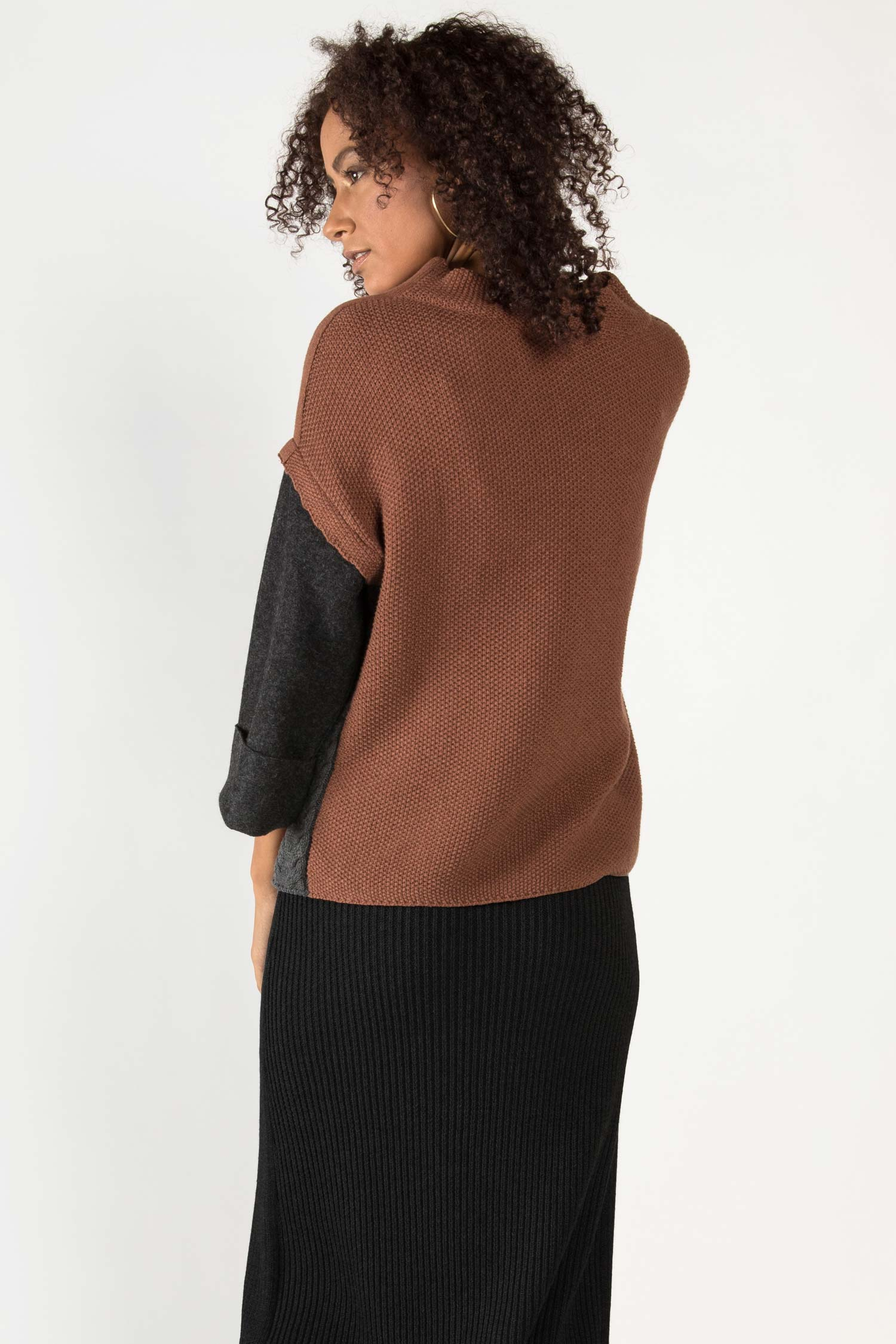 Womens Organic Cotton Sweater | Alpaca Sleeve Sweater | Brown Gray